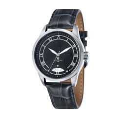 Mens Black Leather Watch KK-20004-01